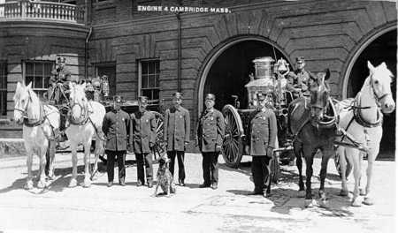 The quarters, apparatus, and members of Engine 4 circa 1901