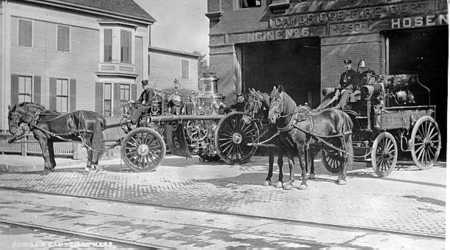 Engine 6 is shown in front of quarters at 176 River Street - 1891. The pump was a Manchester Locomotive Works 900 gpm. The hose wagon was an Abbot and Downing.