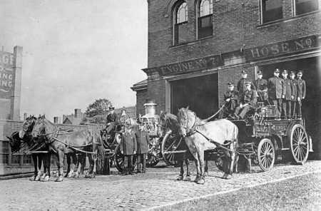 Engine 7 circa 1895 - Amoskeag 700 gpm steam pump - Abbot & Downing hose wagon