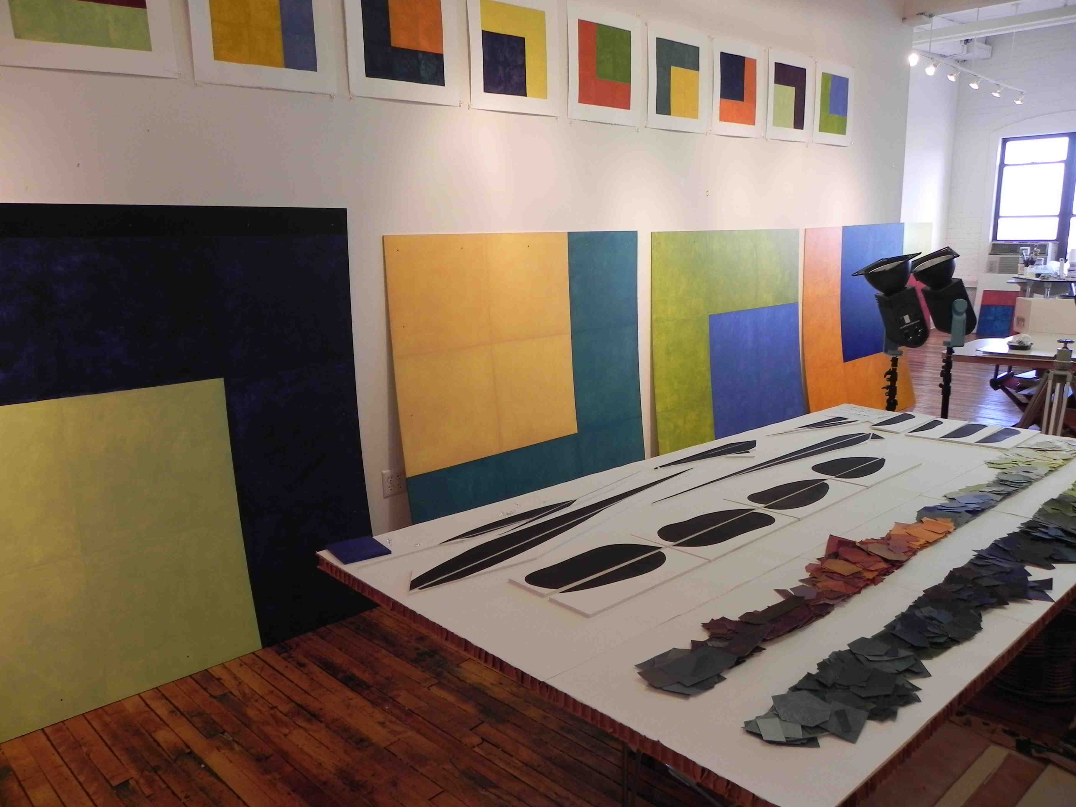 Paintings in development in Nancy Simonds's studio